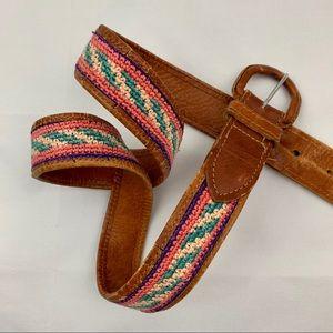 Vintage Guatemala leather boho colorful belt brown